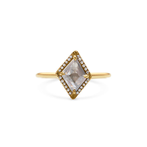 Grey Diamond Slice, 9ct Yellow Gold and Diamond Halo