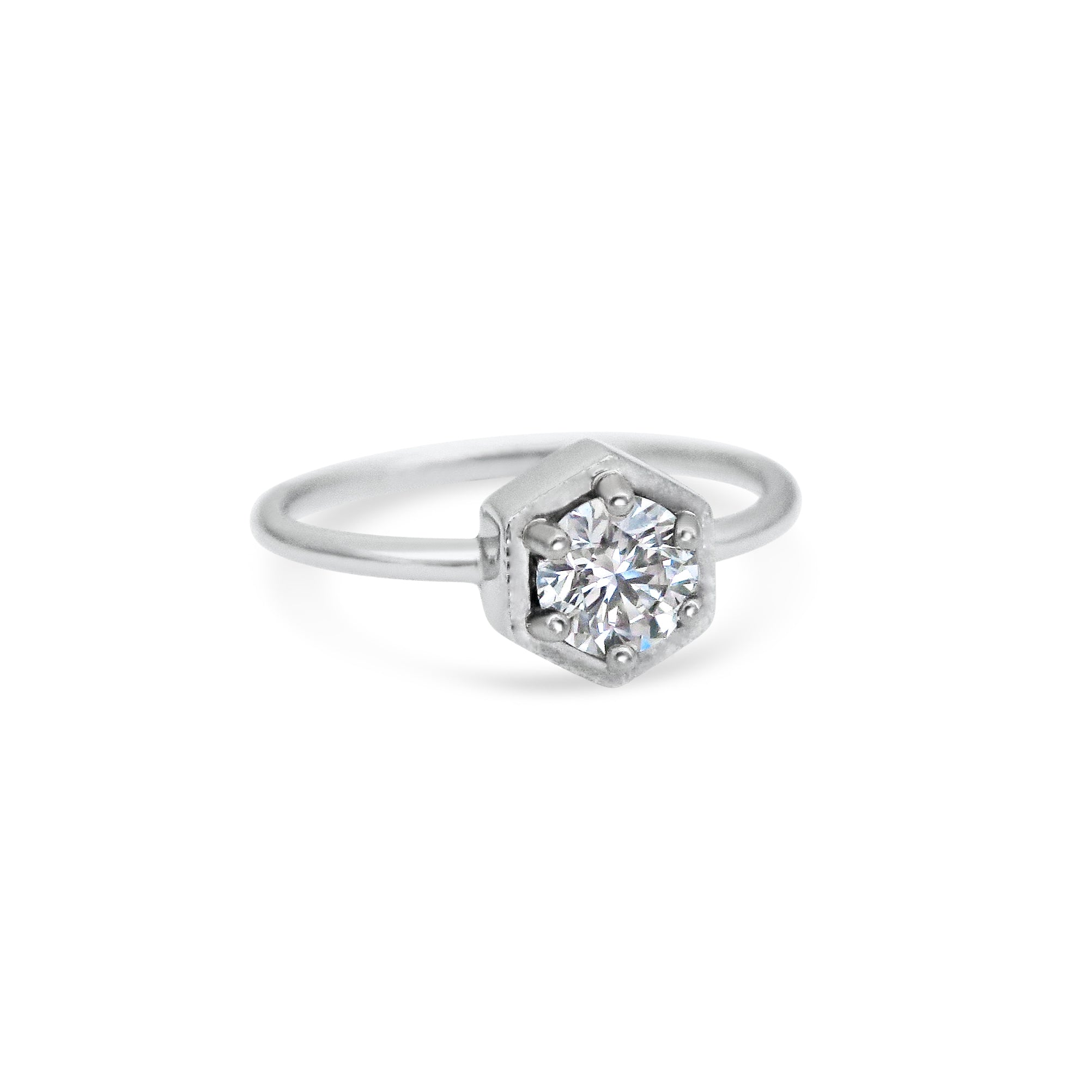 1ct Round Diamond and Hexagonal Frame Platinum Engagement Ring