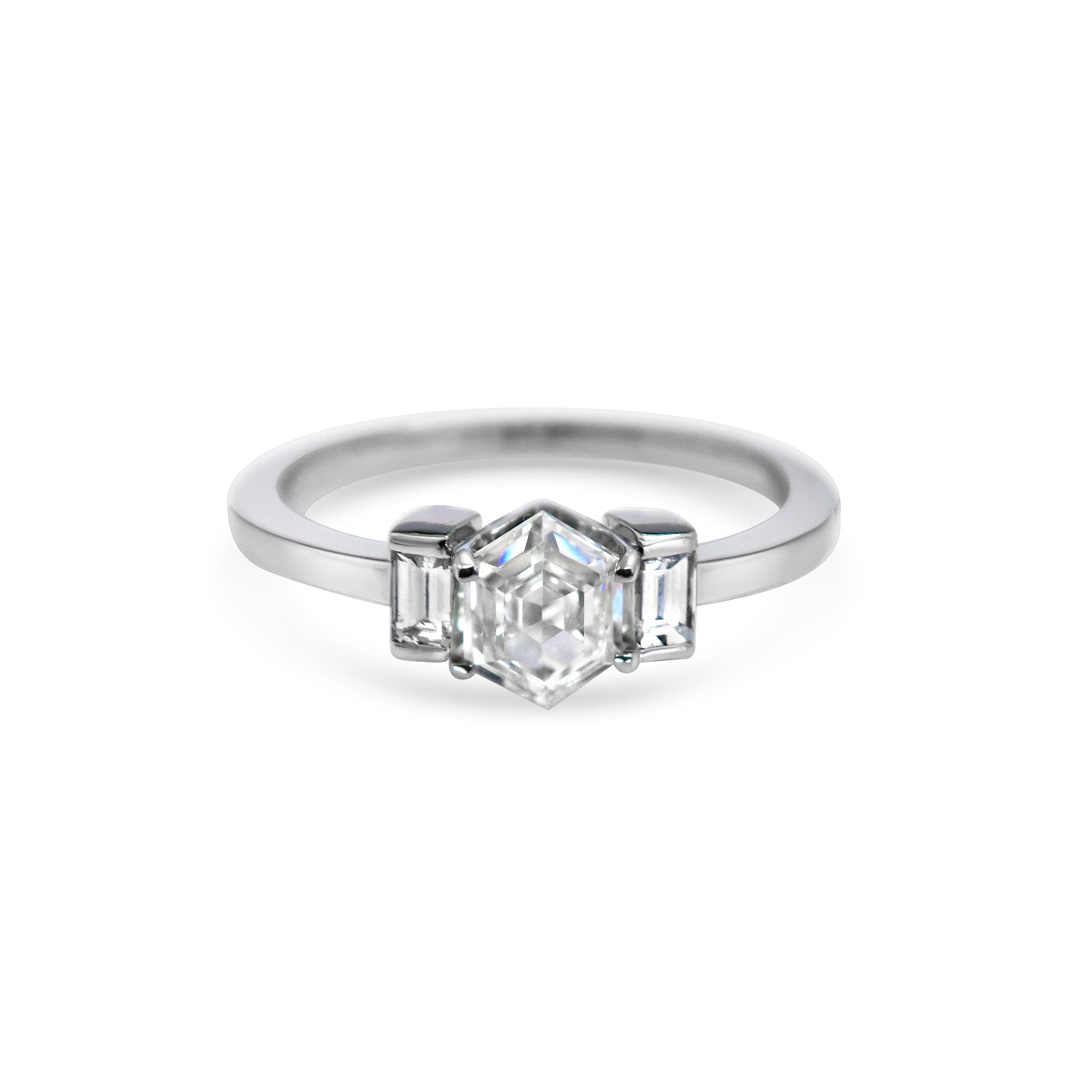 Hexagon Diamond and Baguette Side Stones, 18ct White Gold