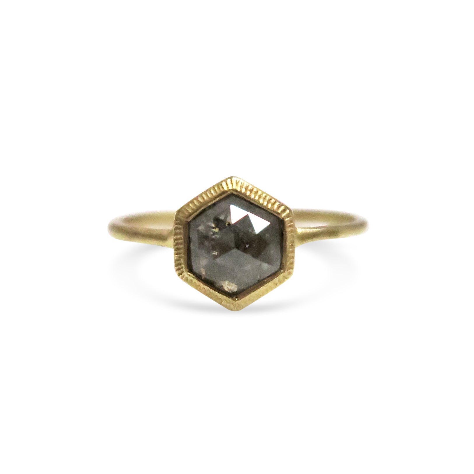 Grey Hexagon Diamond Ring 9ct with engravings Yellow Gold