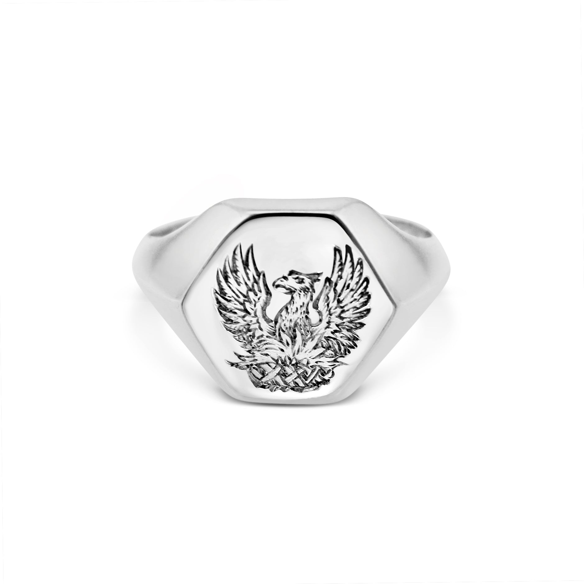 18ct White Gold Hexagon Signet Ring with Hand Engraving