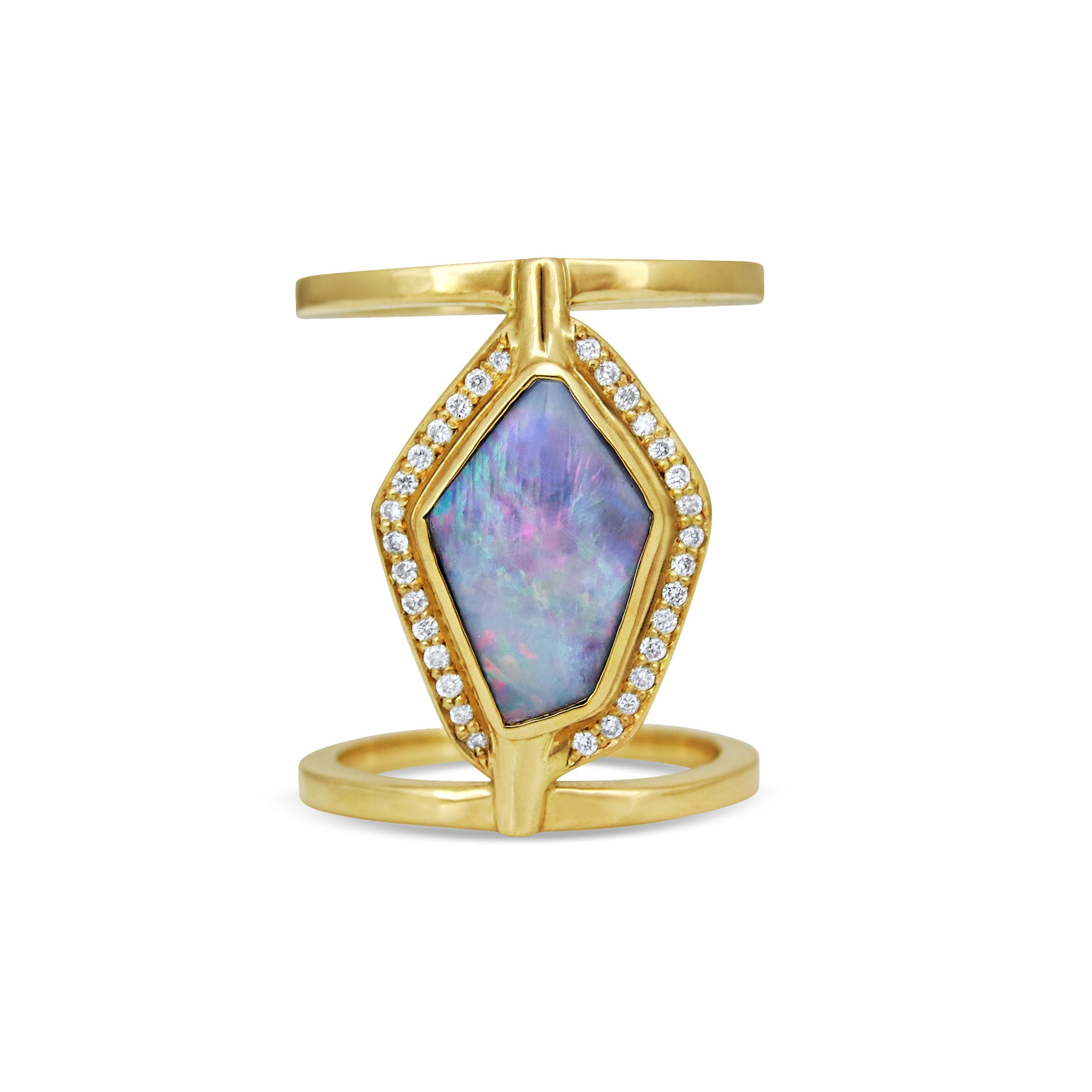Opal and Diamond 18ct Yellow Gold Ring