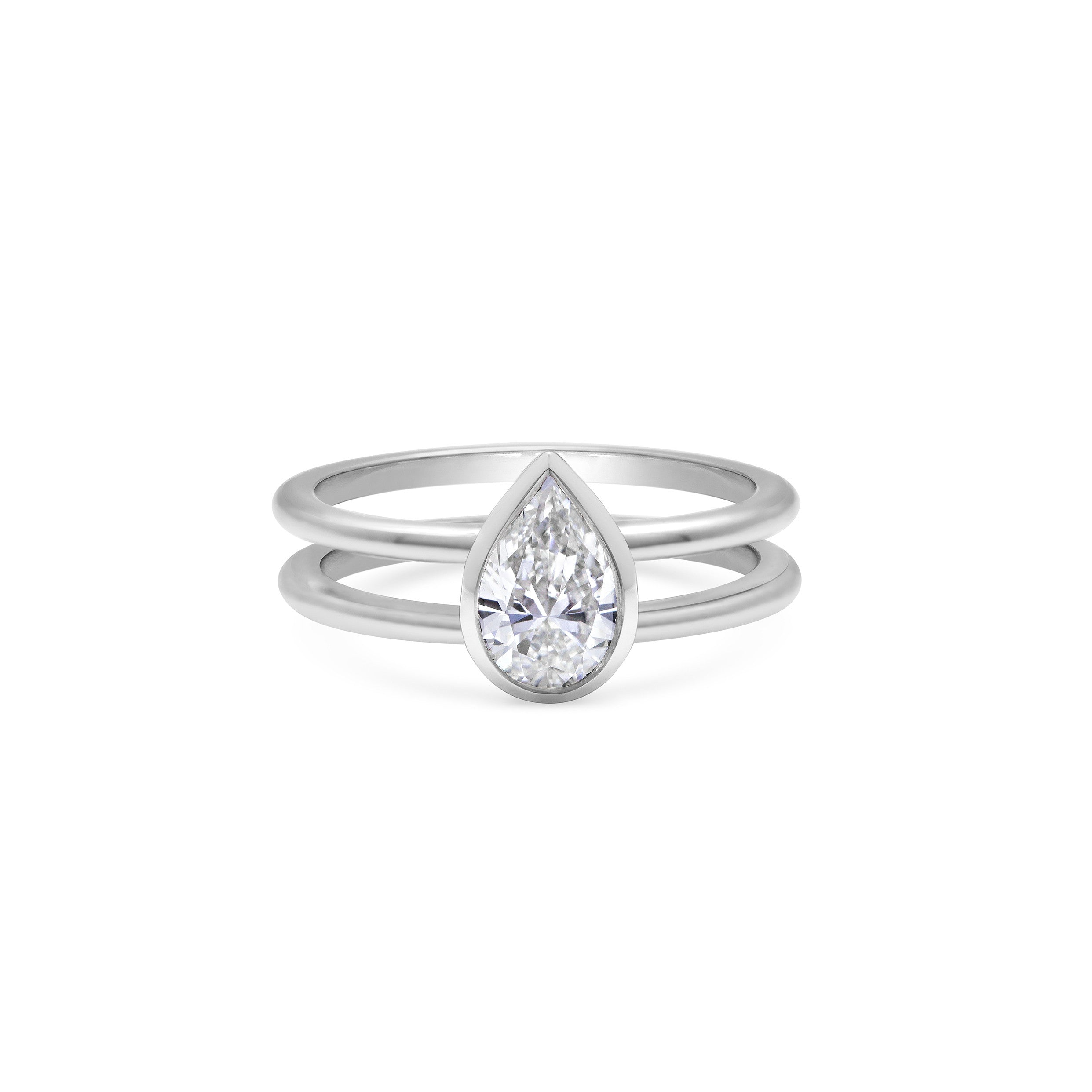 0.70ct Pear Diamond in Platinum Double Band