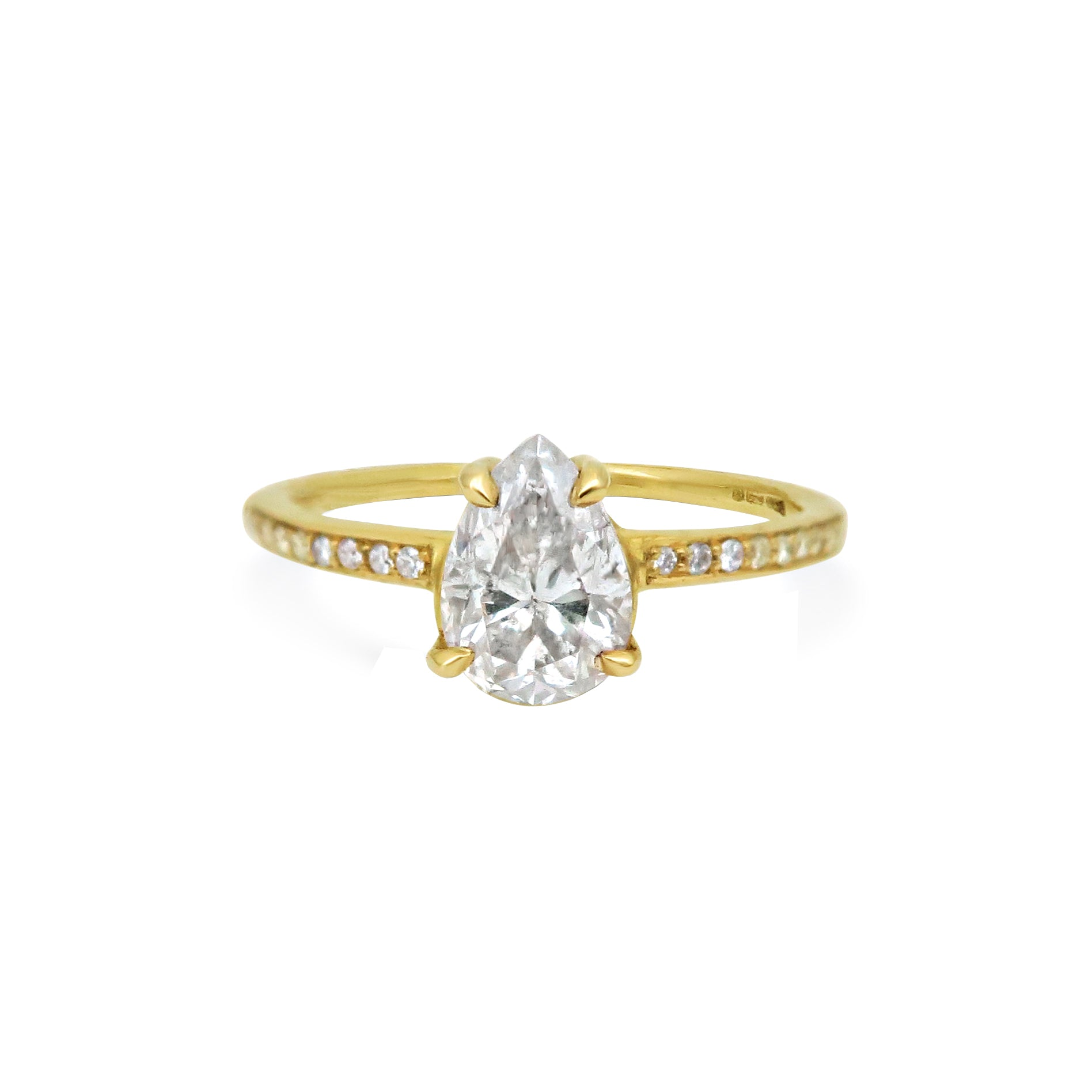 Hammered 18ct Yellow Gold and Pear Diamond Engagement Ring