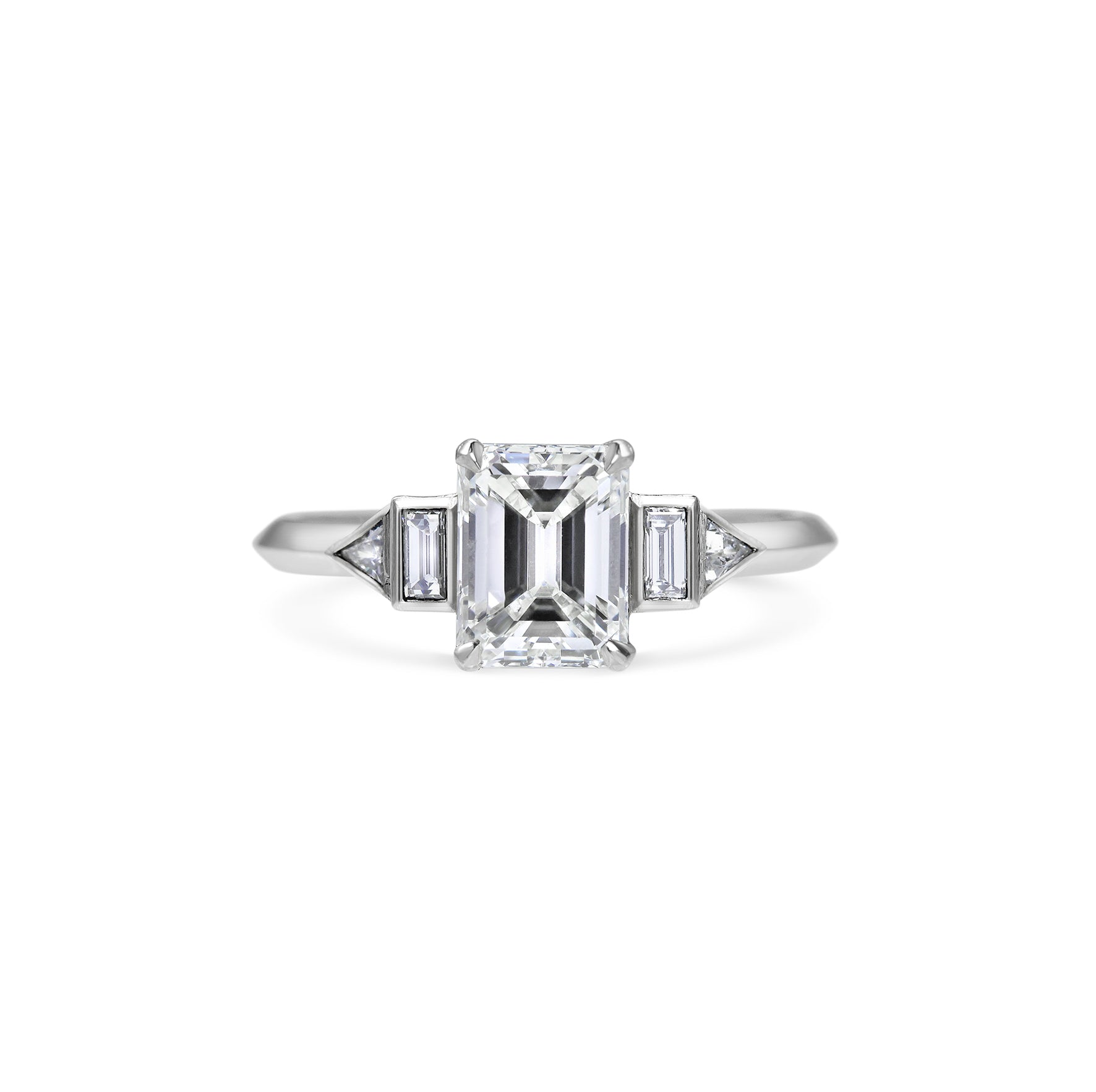 Emerald Cut Diamond with Baguette and Trillion Side diamonds