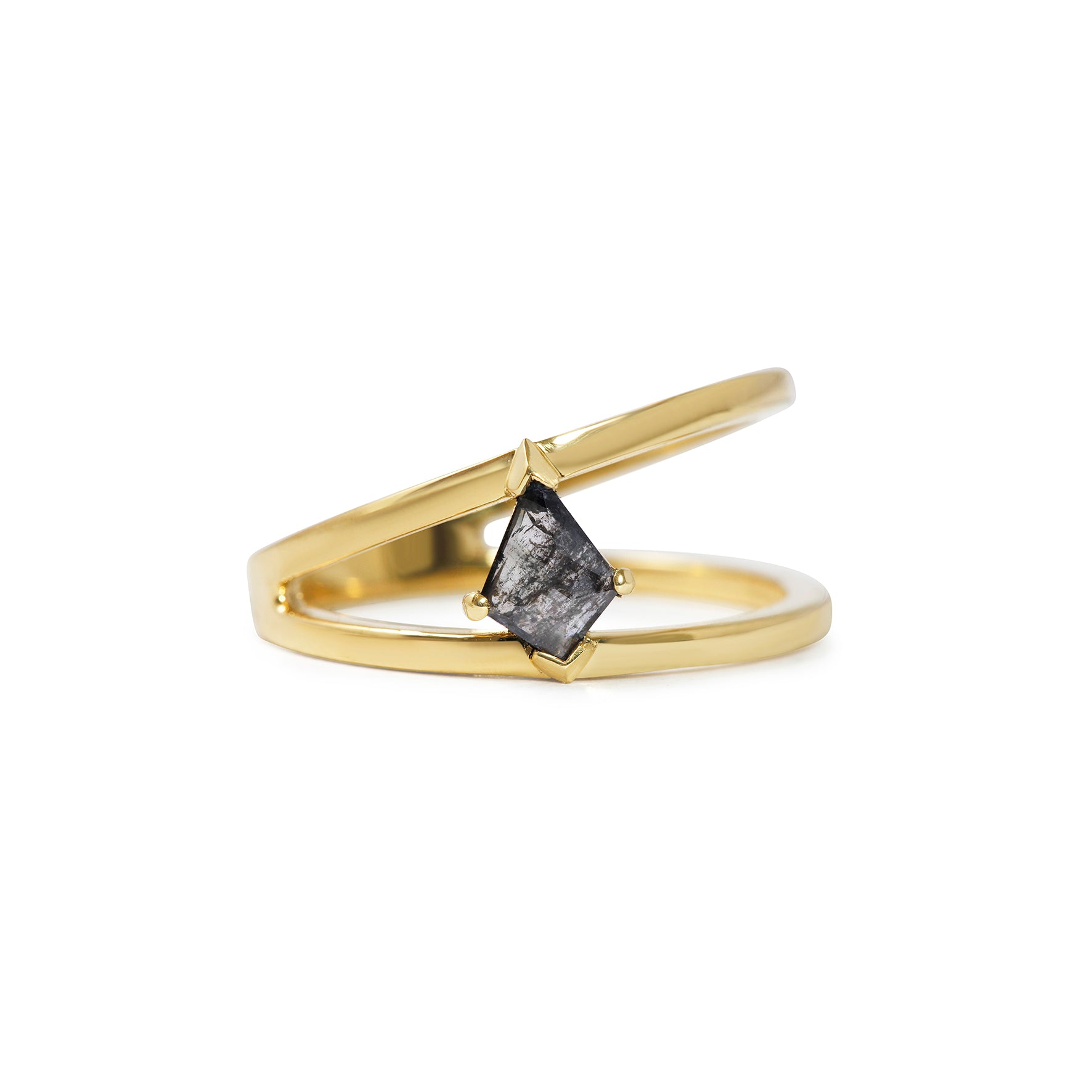 Black Kite Shape Diamond in Asymmetrical 18ct Yellow Gold Ring