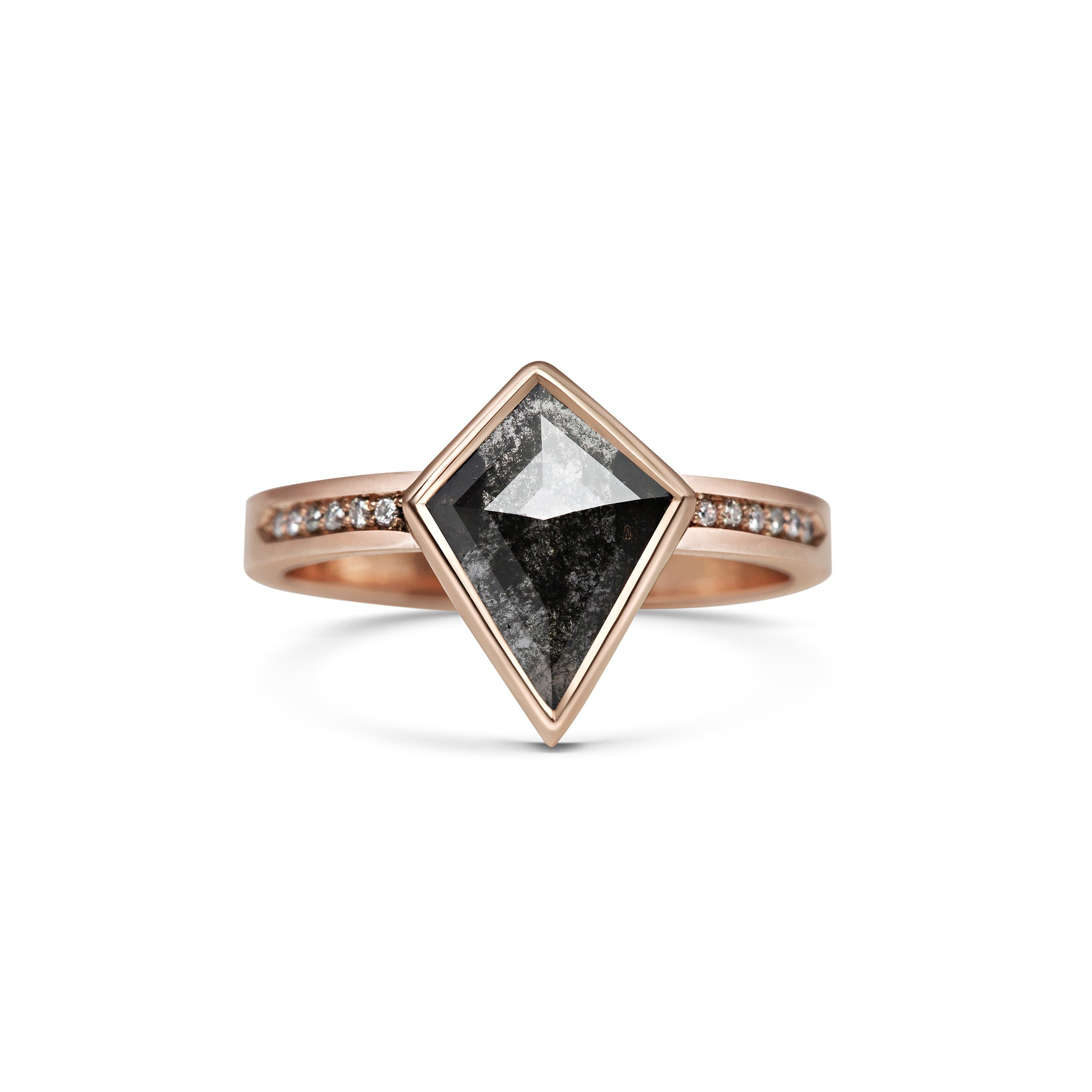 Black Included kite shape diamond slice in Rose Gold