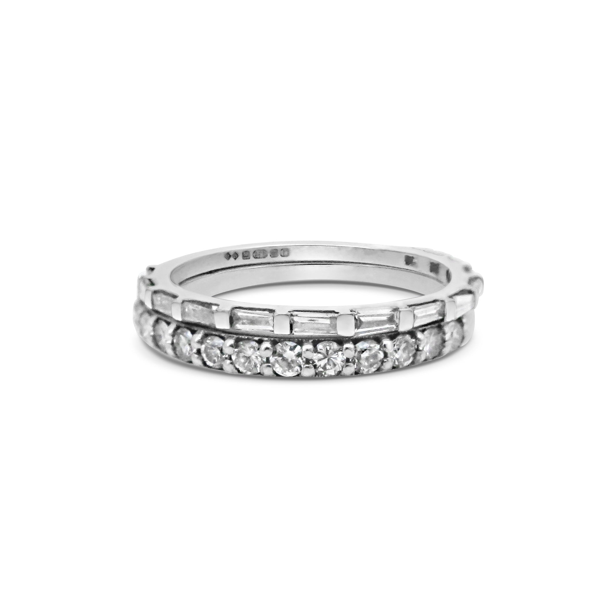Baguette and Round Diamond Wedding Bands