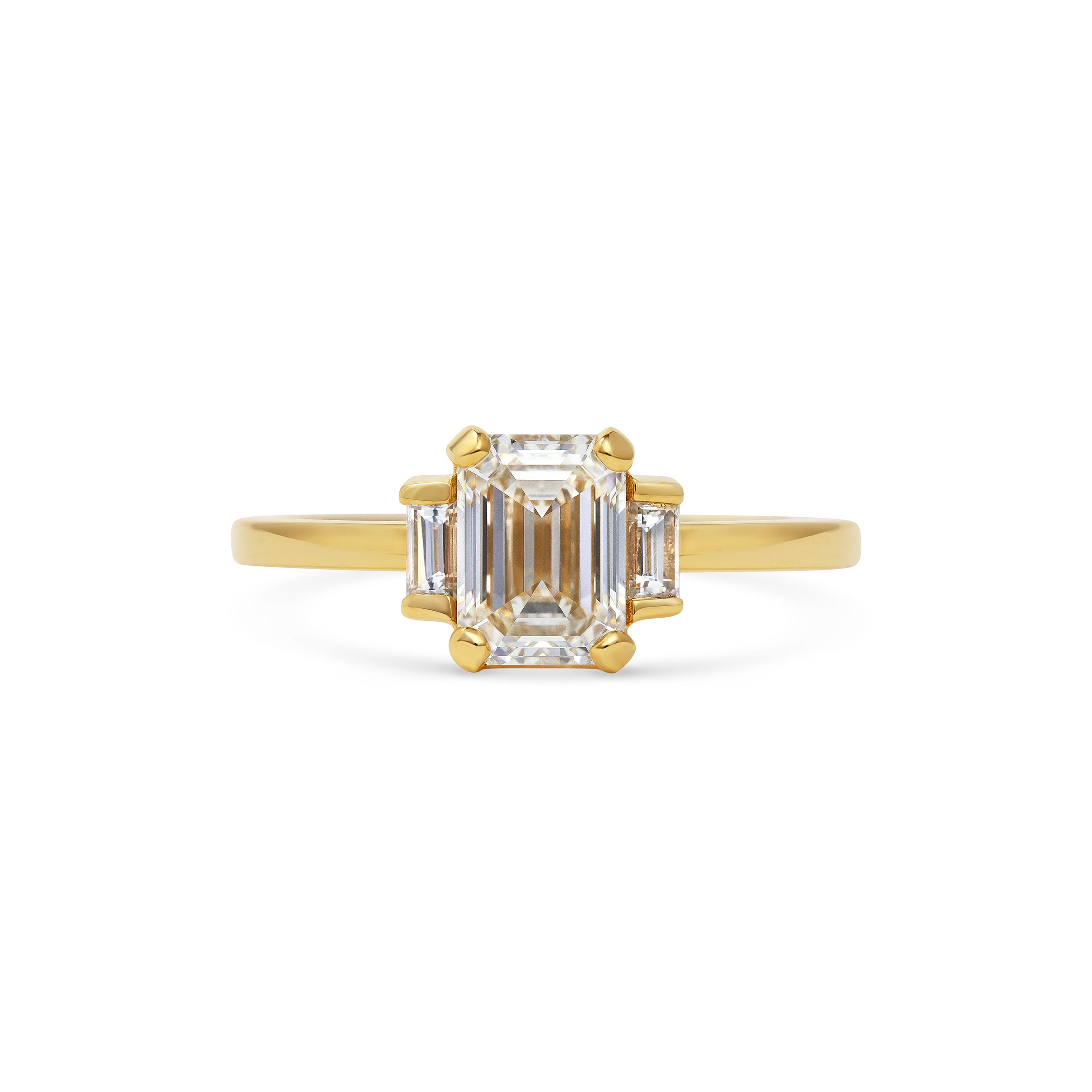 Emerald Cut and Baguette Diamond Engagement Ring