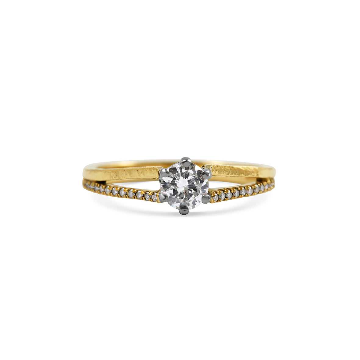 Round Diamond in Hammered Double Bands with Micropave set diamonds