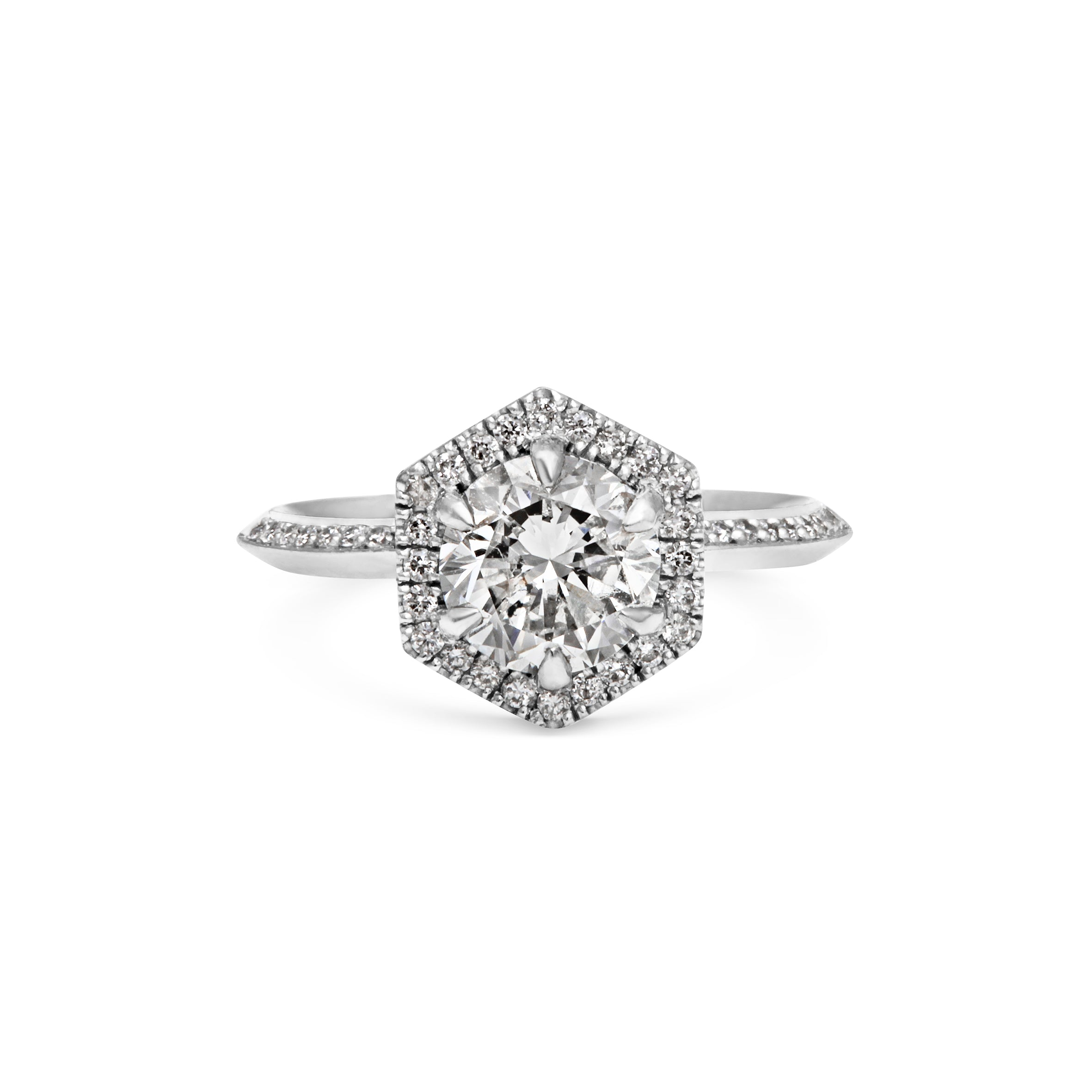 1ct Brilliant Cut Diamond Hexagon Halo Platinum