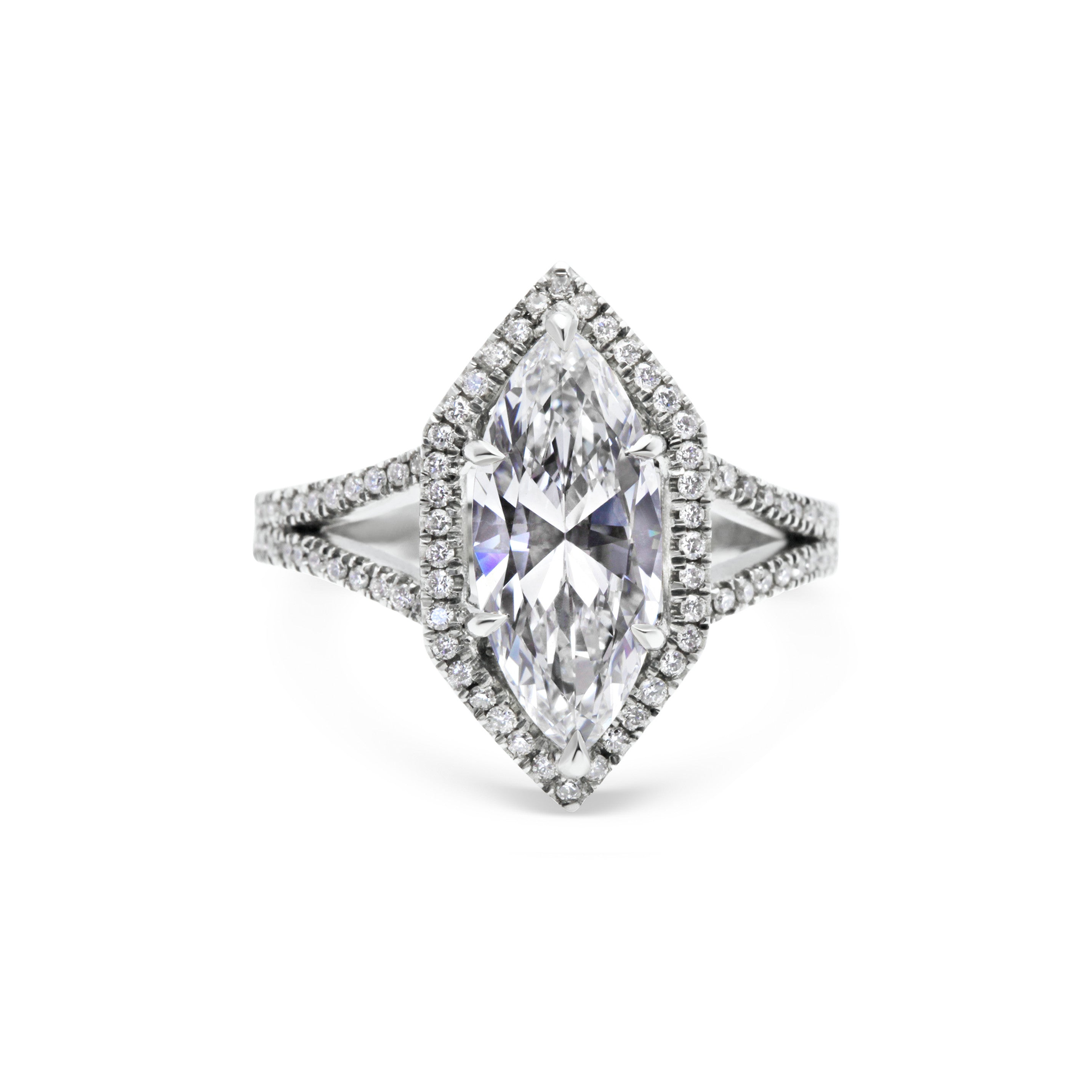 1.76ct Marquise Diamond Ring with Hexagonal Diamond halo, Platinum