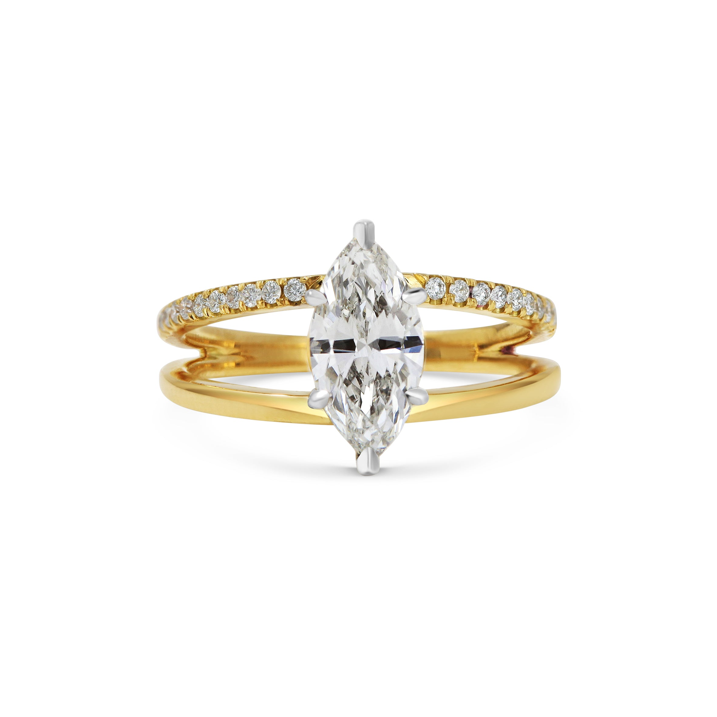 Marquise Diamond Double Band Engagement Ring