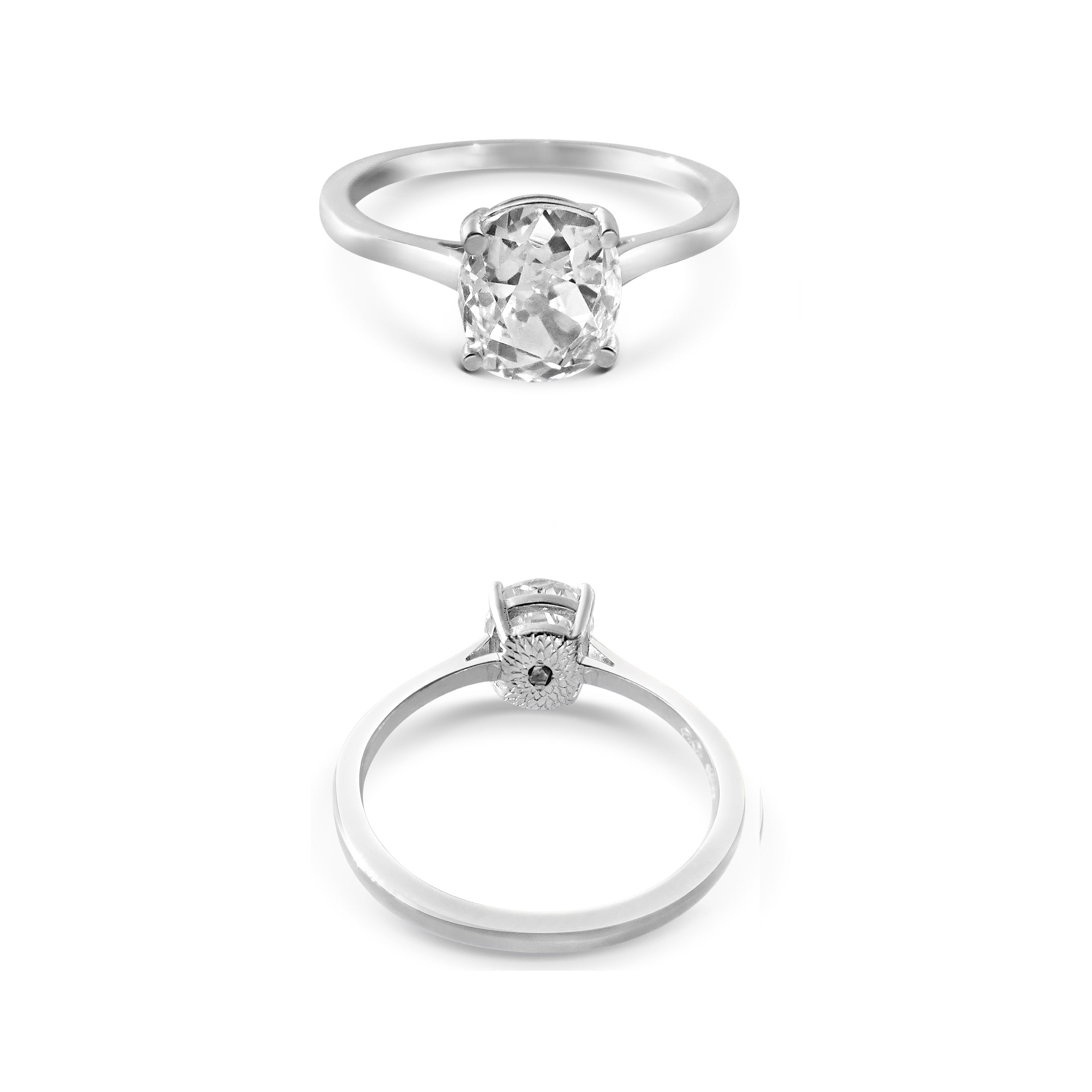Old Mine Cut Diamond Platinum Engagement Ring with Protea Flower Hand Engraving and Rough Diamond Under Setting