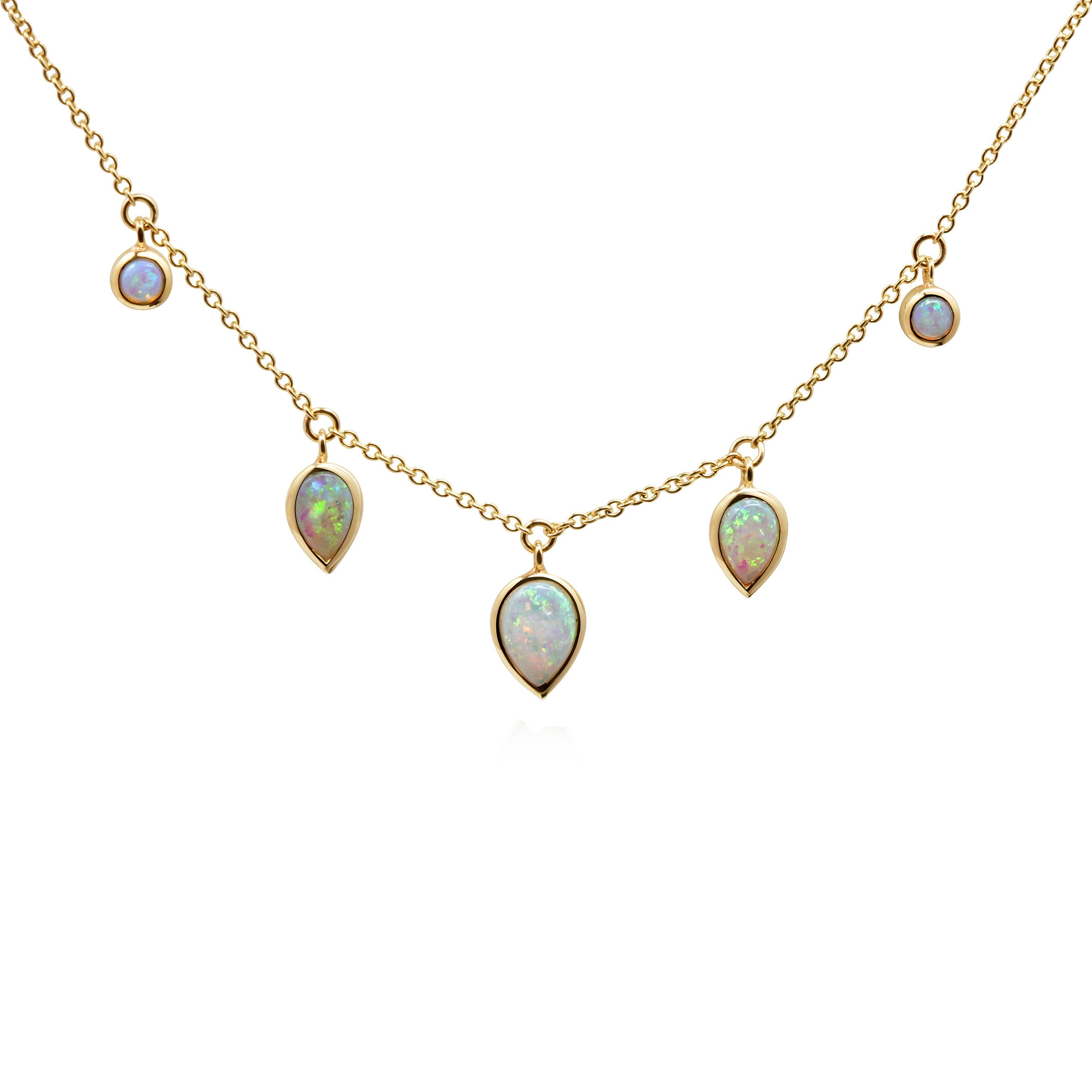Opal Necklace 9ct Yellow Gold