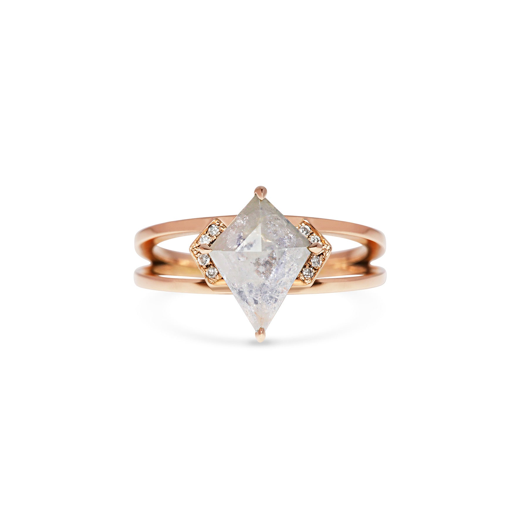 Grey Kite Shape Diamond 18ct Rose Gold Double Band
