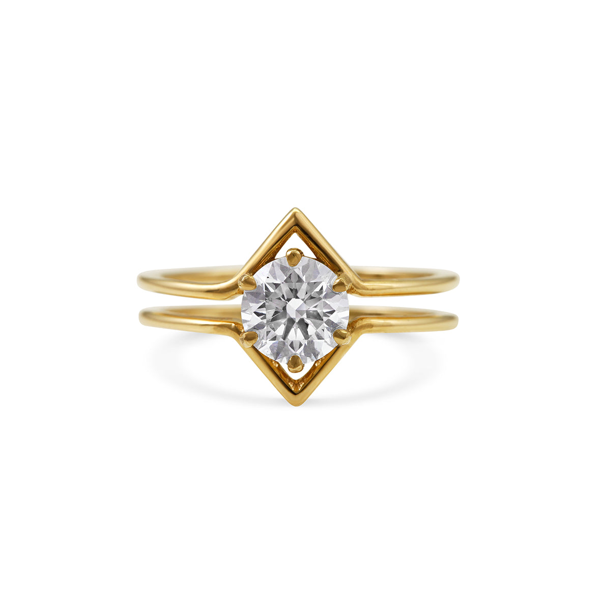 1ct Brilliant cut round diamond in 18ct yellow gold
