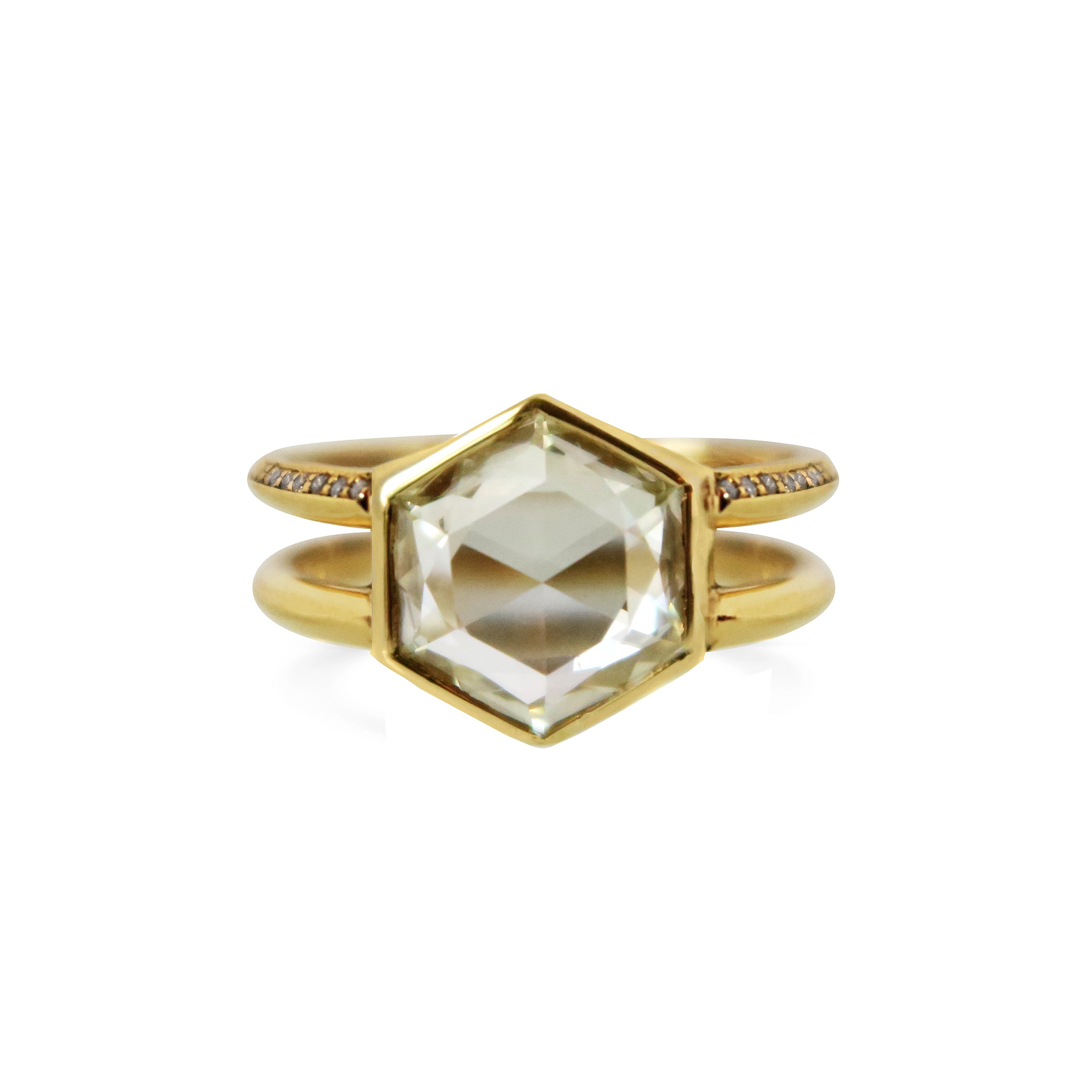 2ct Rosecut Hexagon Diamond Ring with double knife egde band 18ct Yellow Gold
