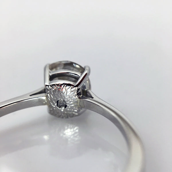 protea flower engraving engagement ring rough diamond