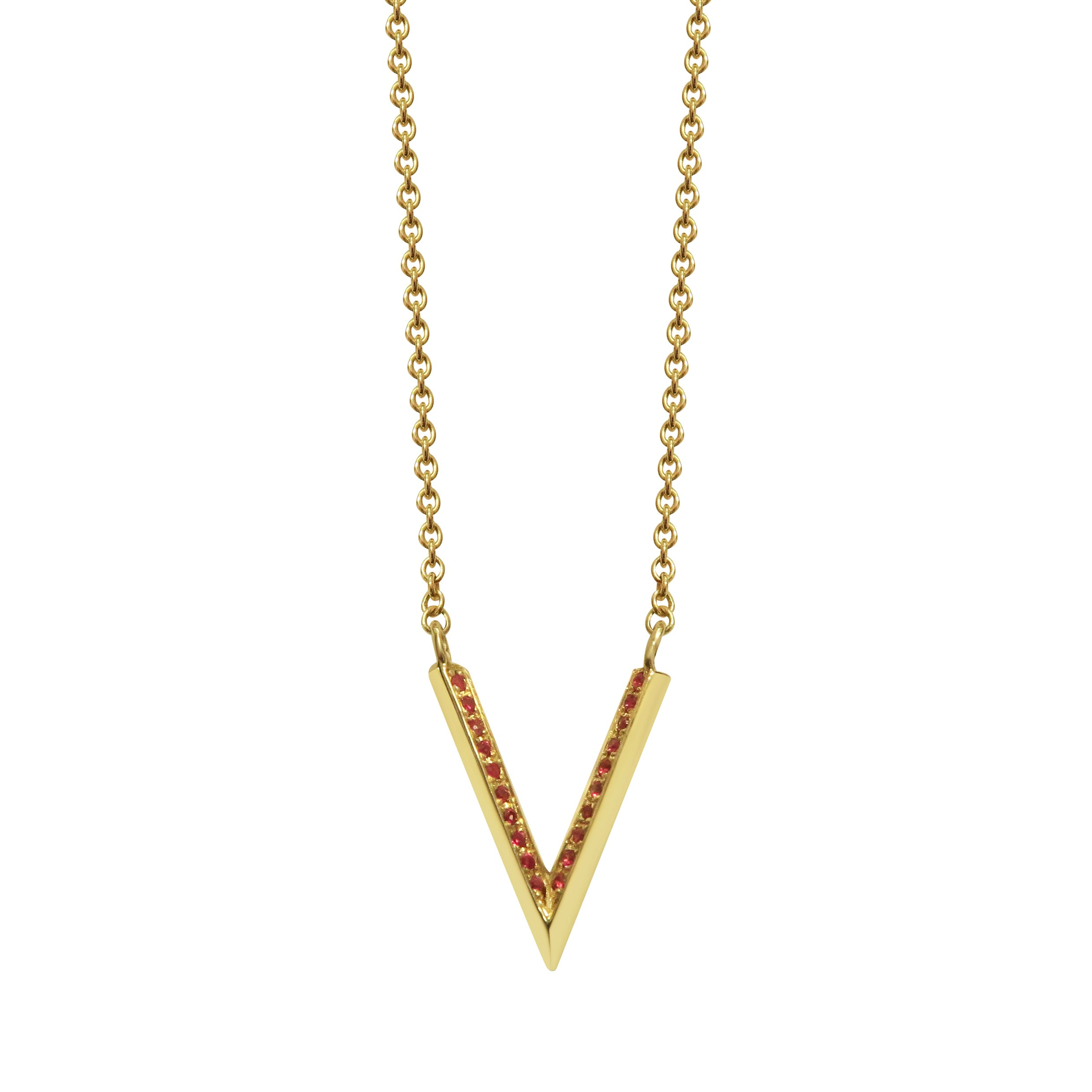 Pave Knife Edge Ruby Yellow Gold Necklace