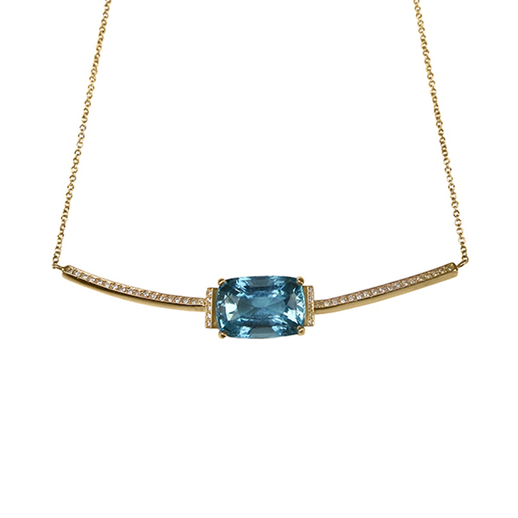 Aquamarine and White Diamond 18ct Yellow Gold Necklace