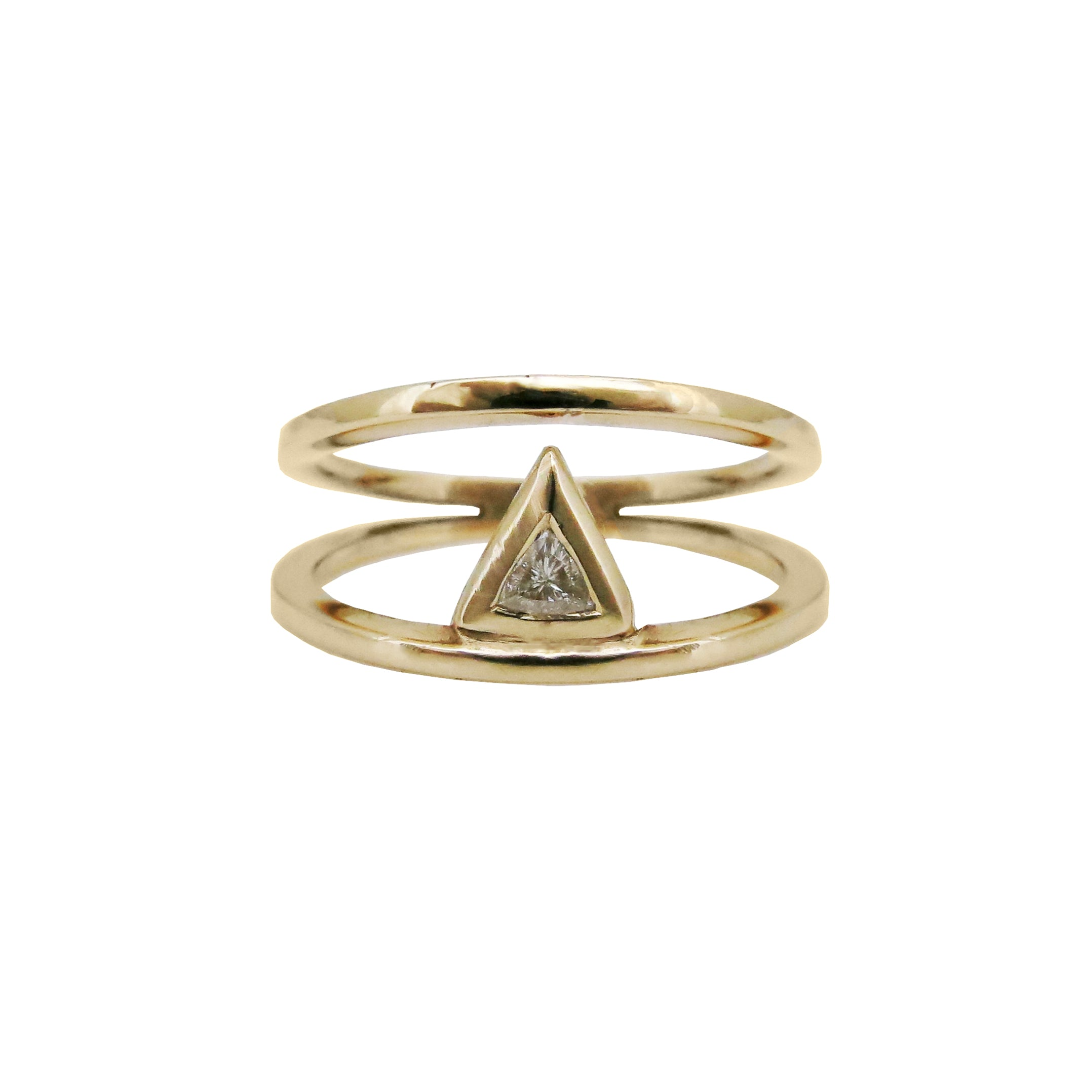 Trillion Diamond Double Band 18ct Yellow Gold Ring