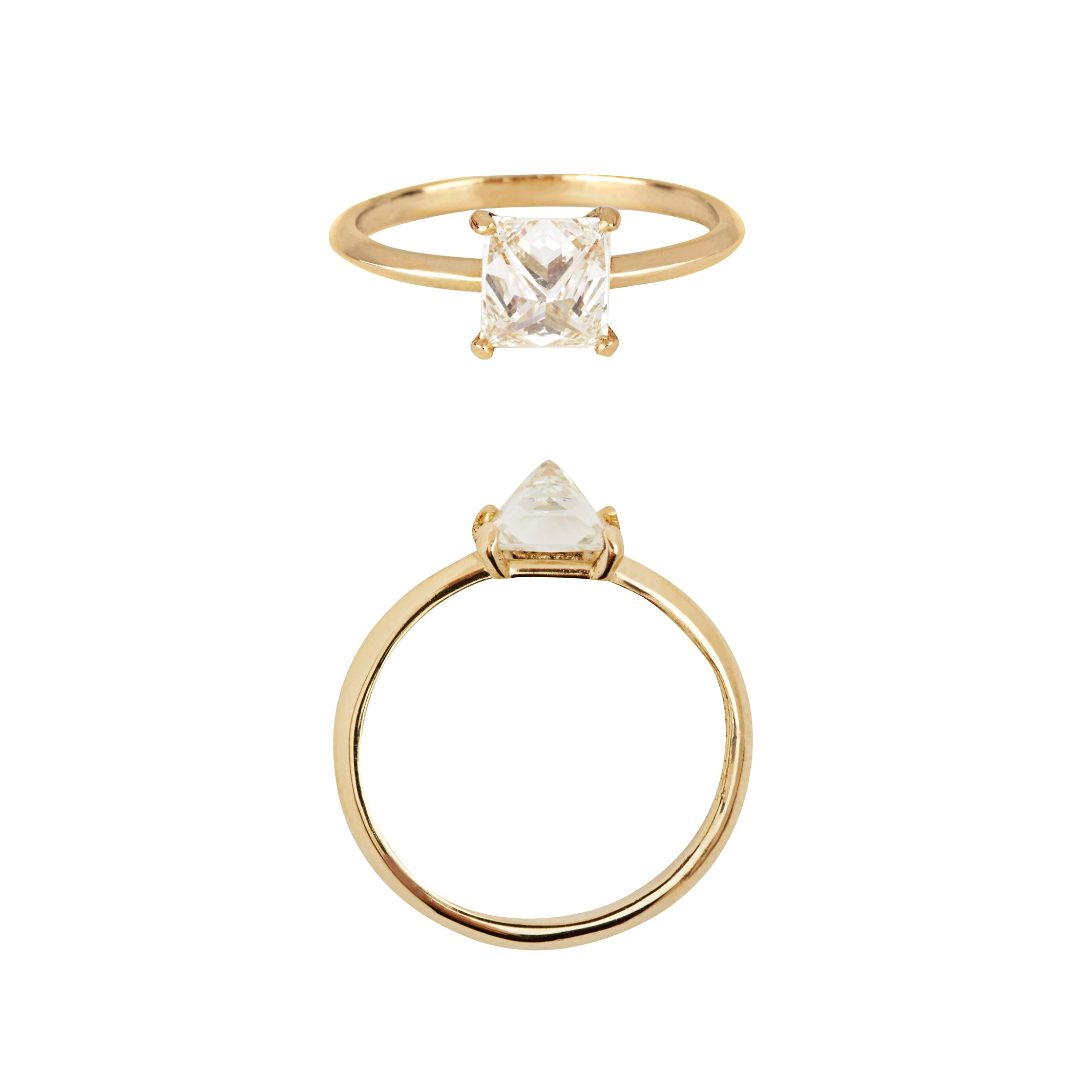 Upside Down Set Princess Cut Diamond 18ct Yellow Gold Ring