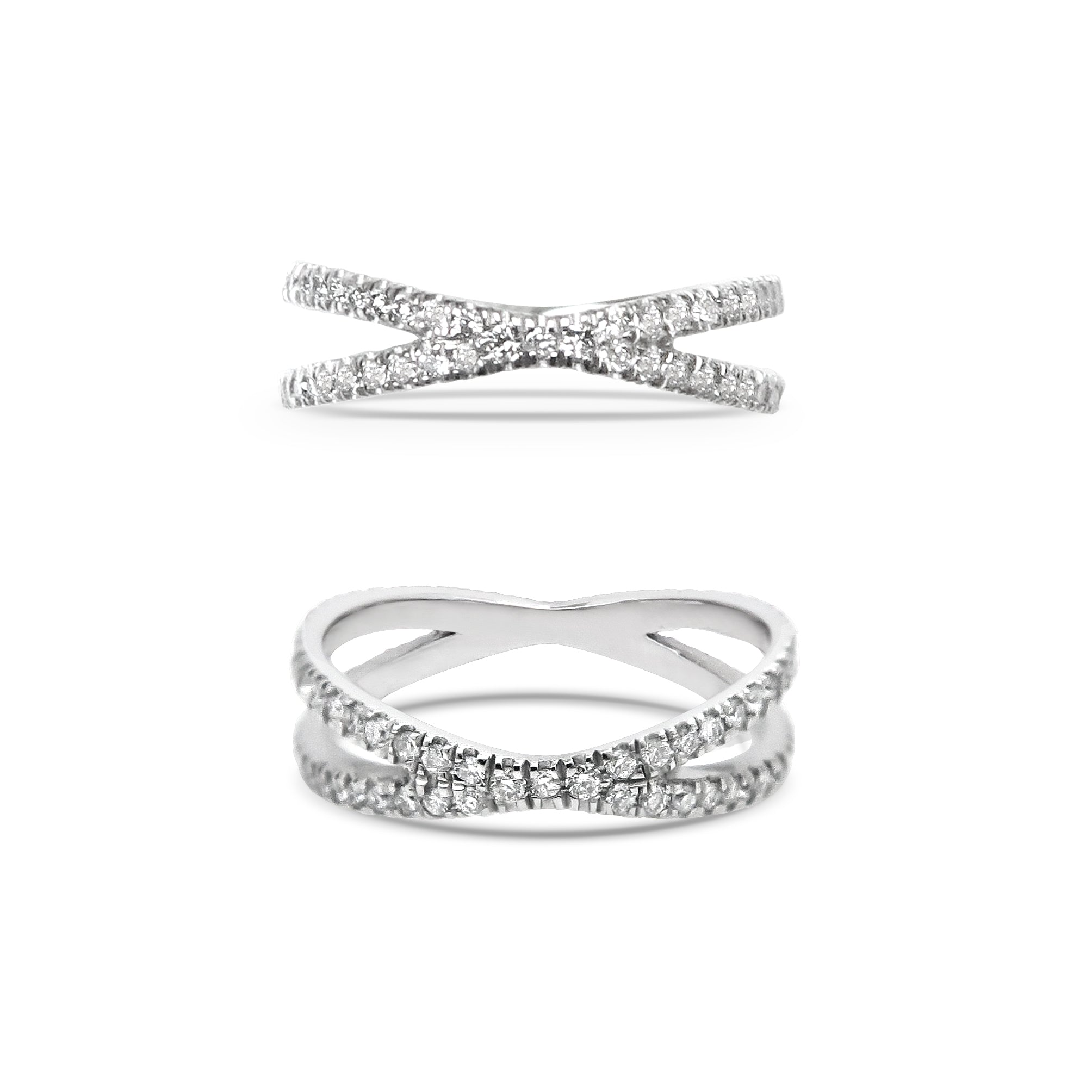 18ct Diamond White Gold Wedding Band Set
