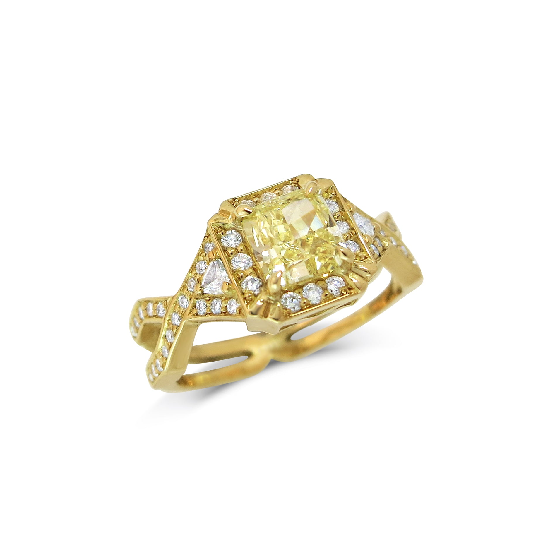 Yellow Asscher Cut Diamond Engagement Ring, set with two trillion white Diamonds and white Diamond pave