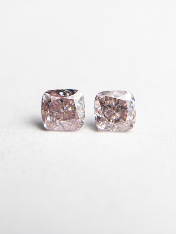 2pc 0.47cttw 3.44x3.26x2.32mm Argyle GIA Fancy Pink SI1/SI2 Cushion Brilliant Matching Pair 18683-01 - Rachel Boston Jewellery