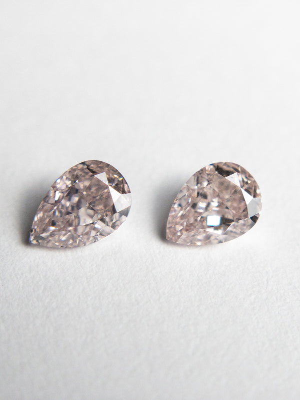 2pc 0.62cttw 5.21x3.51x2.33mm Argyle Fancy Pink Brownish Pear Brilliant Matching Pair 18685-01 - Rachel Boston Jewellery