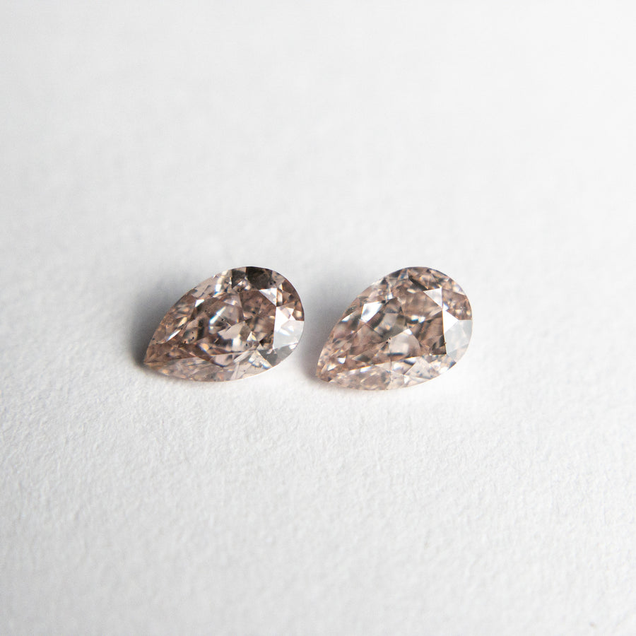 2pc 0.49cttw 4.93x3.27x2.16mm Argyle Fancy Brownish Pink Pear Brilliant Matching Pair 18686-01
