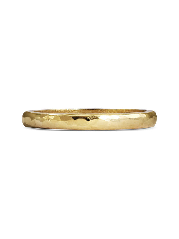Hammered D Shape Wedding Band - 2mm - Rachel Boston Jewellery