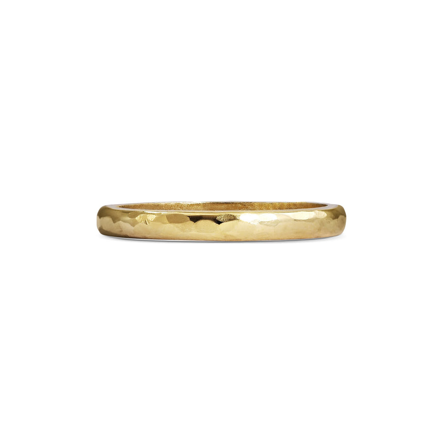 Hammered D Shape Wedding Band - 2mm
