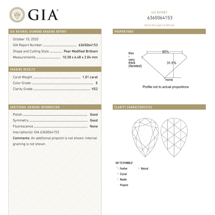 1.01ct 10.38x6.48x2.04mm GIA VS2 E Pear Rosecut 18601-02