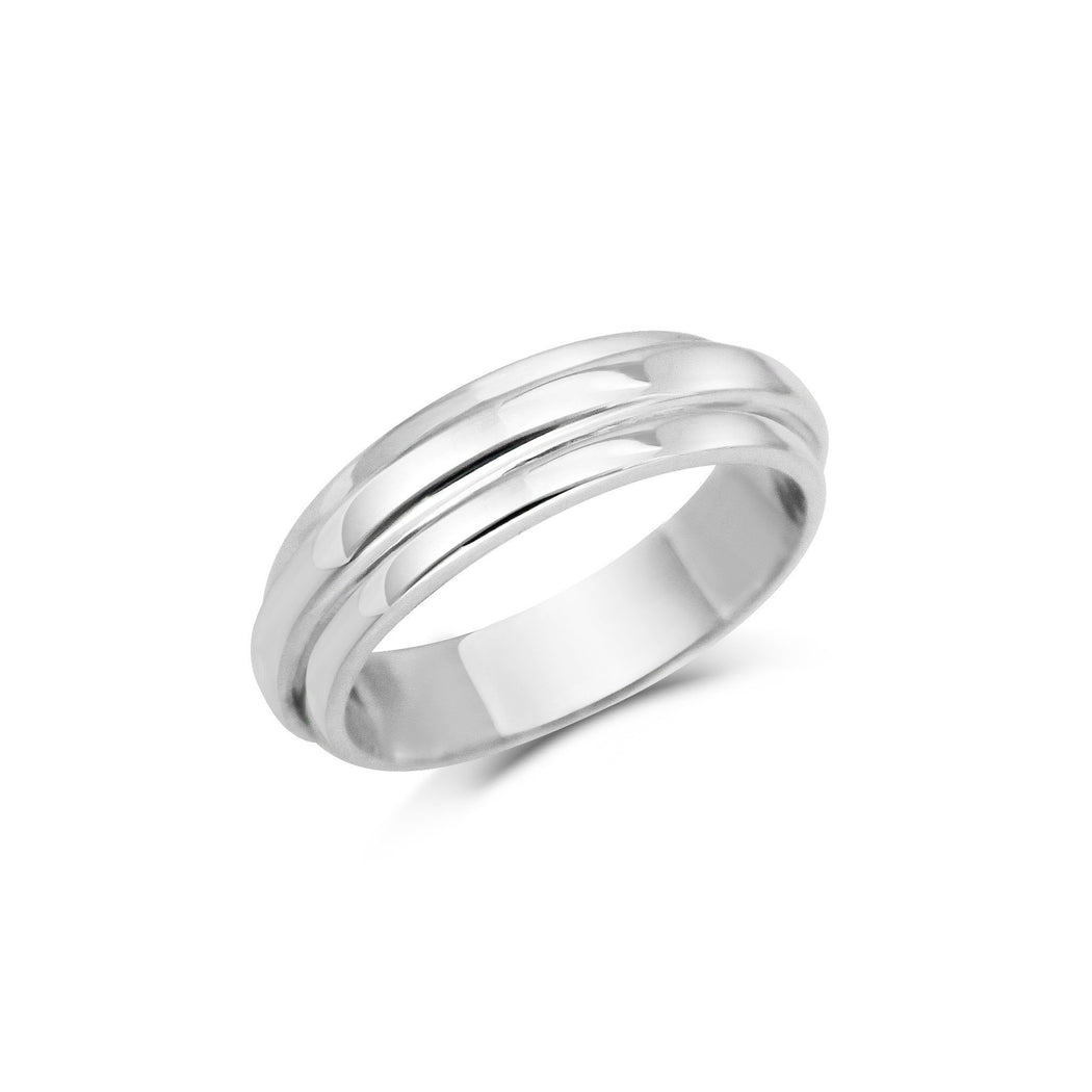 STEP EDGE WEDDING BAND - WIDE
