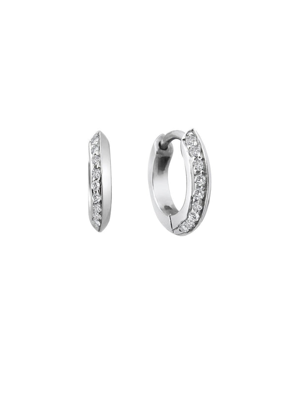10mm Knife Edge Huggie Diamond Earrings - Rachel Boston Jewellery