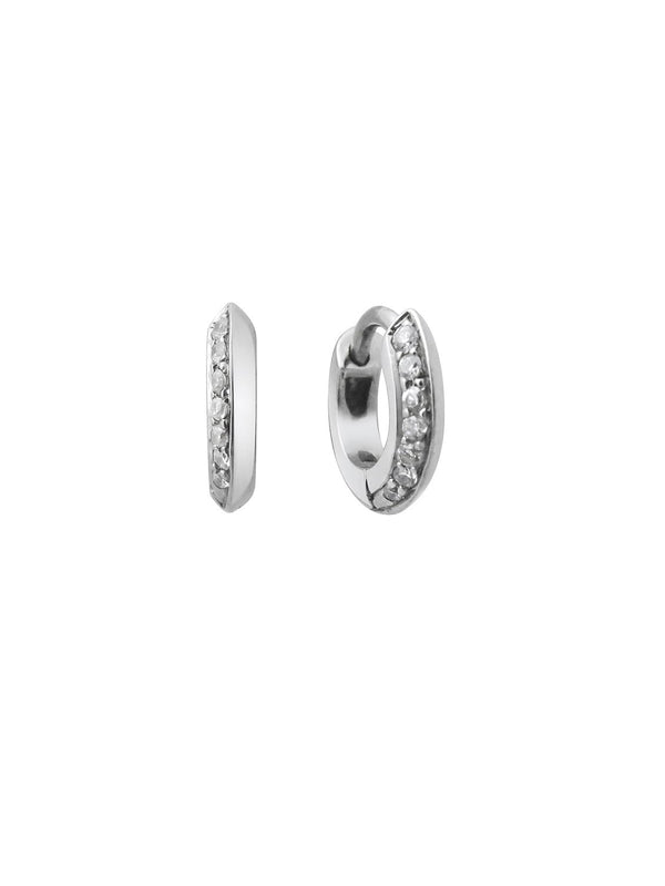 6.5mm Knife Edge Huggie Diamond Earrings - Rachel Boston Jewellery