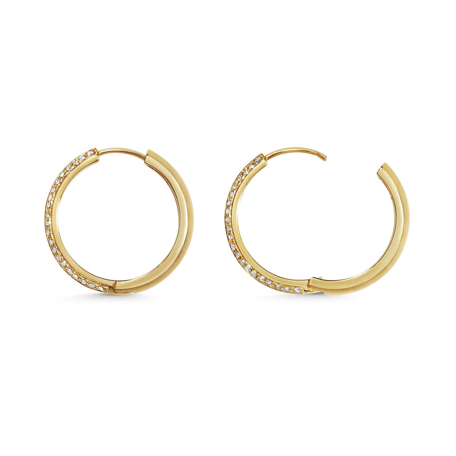 Diamond Knife Edge Hoop Earrings