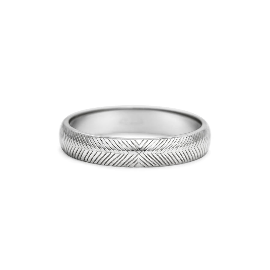 Engraved Chevron Wedding Band - 4mm