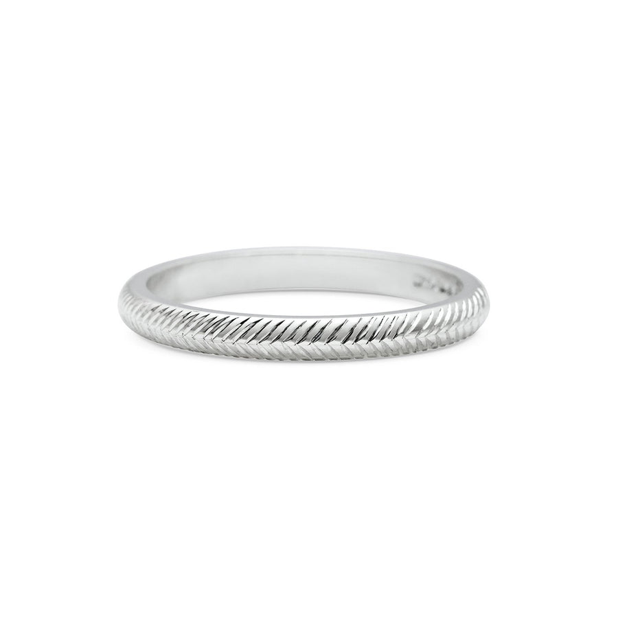 Engraved Chevron Wedding Band - 2mm