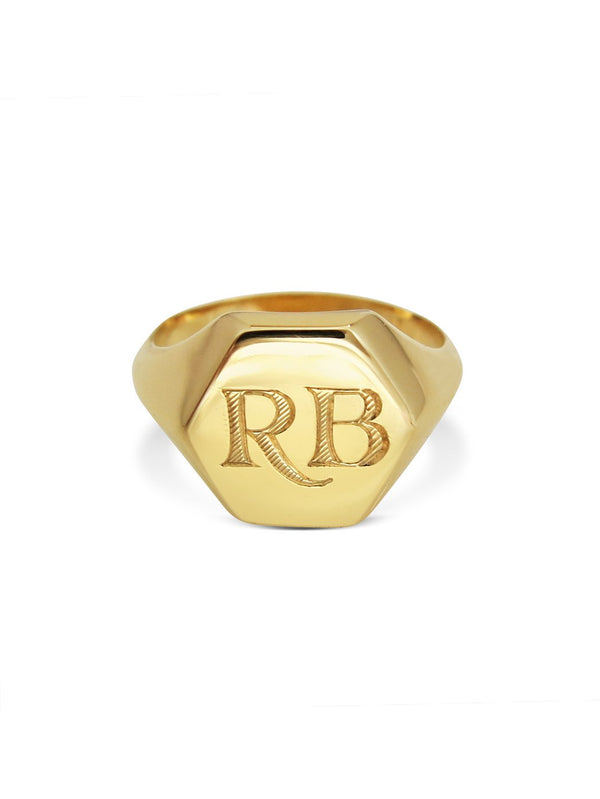 Hexagonum Small Signet Ring - Rachel Boston Jewellery