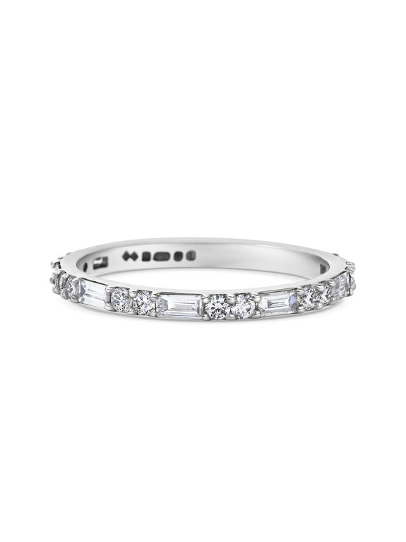 Baguette & Round Diamond Wedding Band - Rachel Boston Jewellery