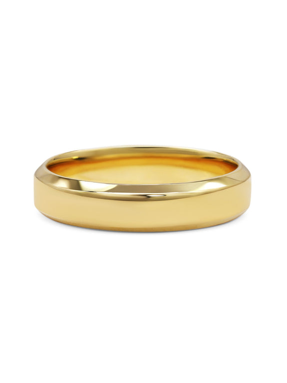 Chamfered Edge Wedding Band - Wide - Rachel Boston Jewellery
