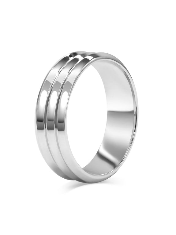 Triple Edge Wedding Band - Wide - Rachel Boston Jewellery