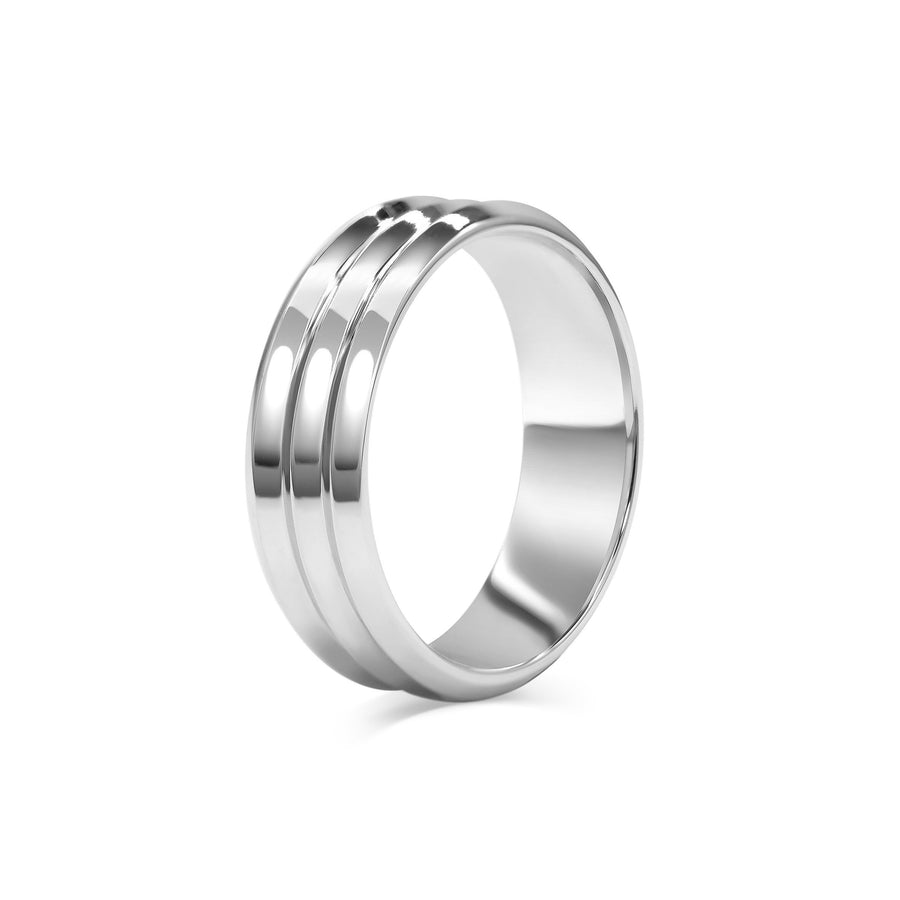 Triple Edge Wedding Band - Wide