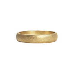 Matt Hammered D Shape Wedding Band - 4MM