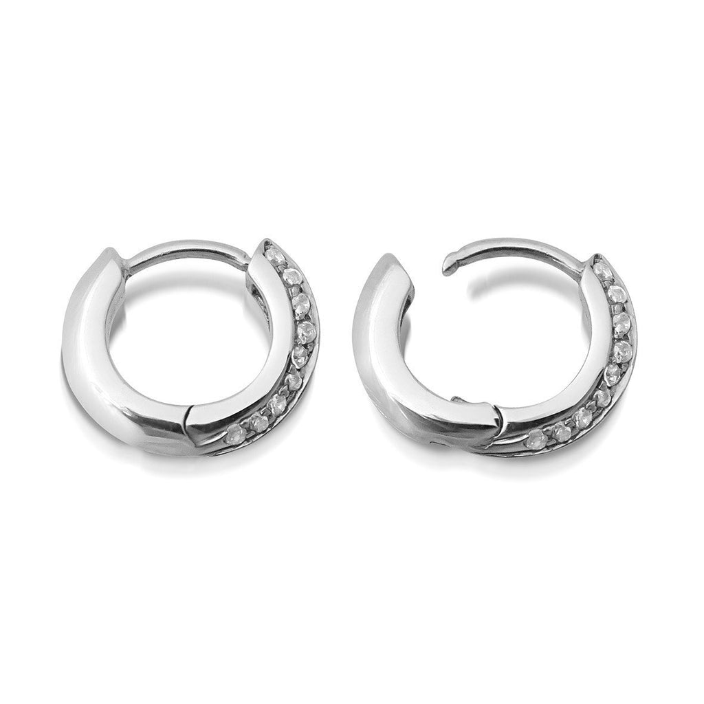 10MM KNIFE EDGE HUGGIE DIAMOND EARRINGS
