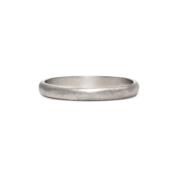 Matt Hammered D Shape Wedding Band - 3MM