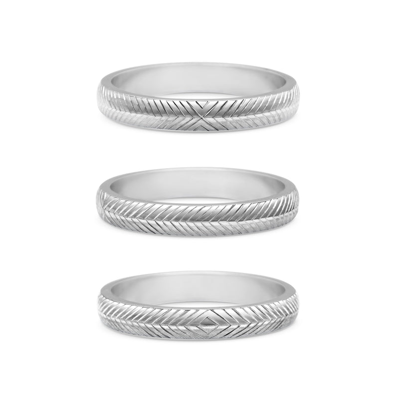 Engraved Chevron Band - 3MM
